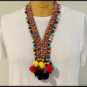 Zara long necklace with pom poms